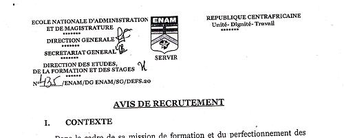 ENAM : AVIS DE RECRUTEMENT                                                                           ...